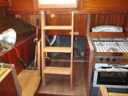 Making a companionway ladder, companionway ladder, building a compainionway ladder, restoring a cape dory, refitting a sailboat.